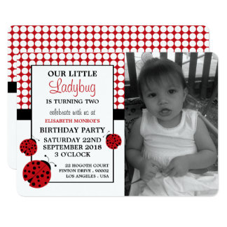 Red Ladybug Children's Birthday Party Card