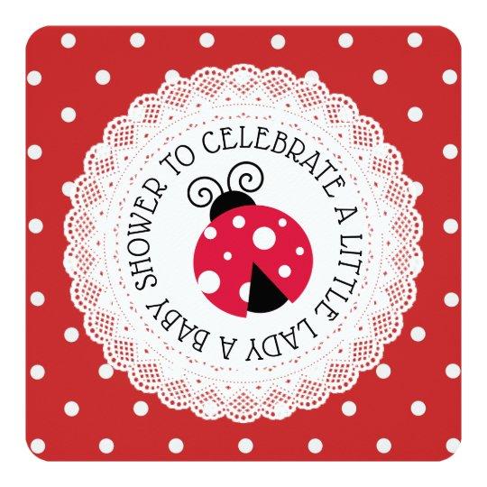 Red Ladybug Girl Baby Shower Invitations
