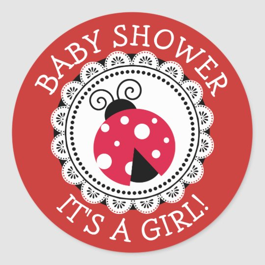 Red Ladybug Girl Baby Shower Stickers