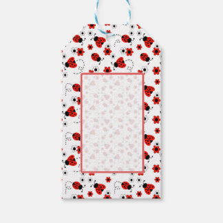 Red Ladybug Lady Bug Floral White Spring Flowers Gift Tags