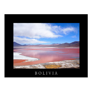 Red Lagoon in Bolivia black text postcard