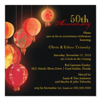Red Lanterns 50th Wedding Anniversary 13 Cm X 13 Cm Square Invitation Card