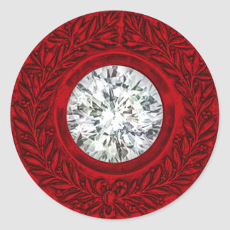 Red Laurel Wreath and Diamond Envelope Seal