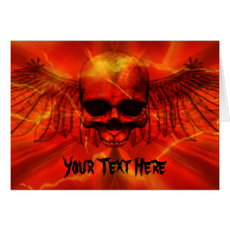 Red Lava Burst Winged Skull Card