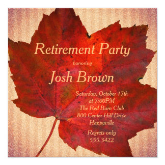 Red Leaf Fall Retirement Party Card
