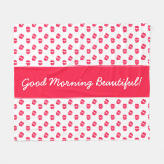 Red Lips Kiss Good Morning Beautiful Fleece Blanket