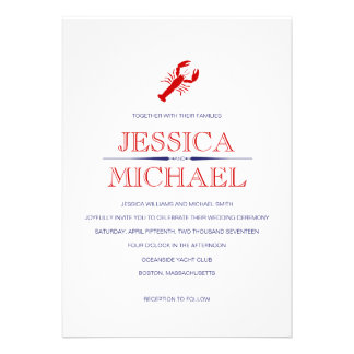 Red Lobster Wedding Navy Blue Nautical Theme Personalized Announcement
