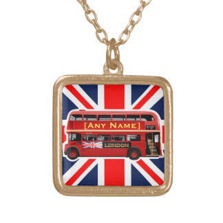 Red London Bus Themed Gold Plated Necklace