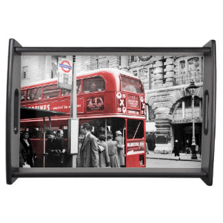 Red London Double Decker Serving Tray