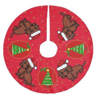 Red Long Haired Dachshund Christmas Tree Skirt Brushed Polyester Tree Skirt