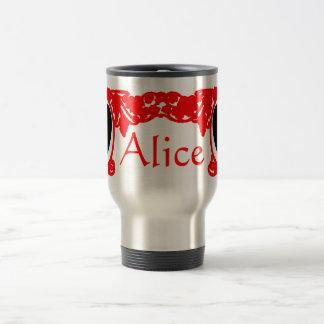 Red Love Alice Vintage Frame Template Travel Mug