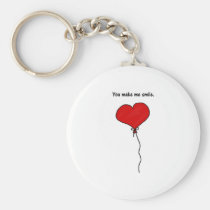 Red Love Heart Balloon You Make Me Smile Basic Round Button Key Ring