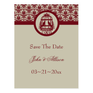 Red Lovebird Cage Save The Date Postcard