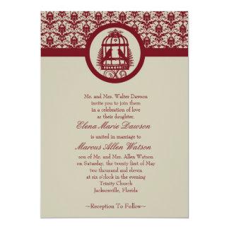 Red Lovebird Cage Wedding Invitation