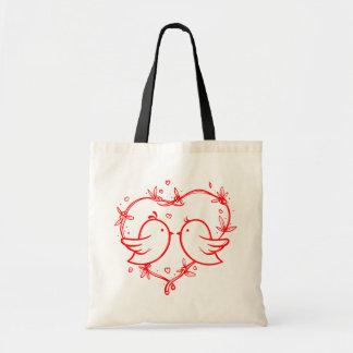 Red Lovebirds & Hearts Wedding Love Tote Bag