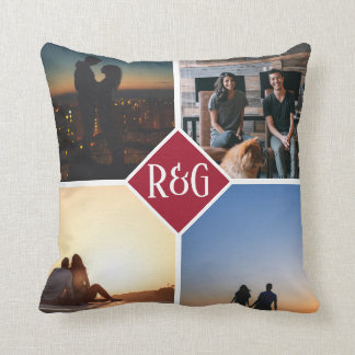 Red Make Your Own Personalised 4 Photo Monogram Cushion