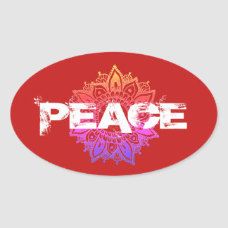 Red Mandala Peace Typography Oval Sticker