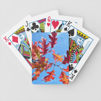 Red maple leaves against blue sky bicycle playing cards