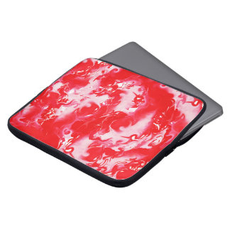 Red marbled texture, rich ebru technique, marbling laptop sleeves
