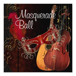 Red Mask Musical Instruments  Masquerade Ball Invi Card