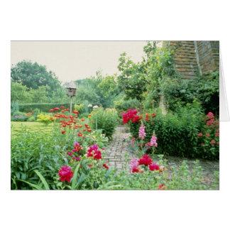 Red Mixed Cottage Garden - Peony, Pyrethrum, Alliu Greeting Card