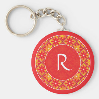 Red Monogram Decorative Floral Tiles Keychain