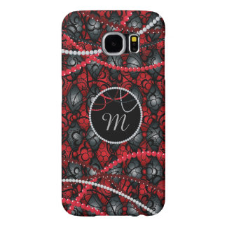 Red Monogram, Lace with Beads