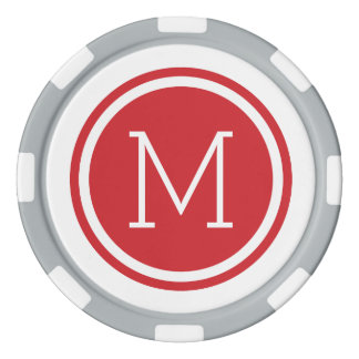 Red Monogram Personalized Poker Chips