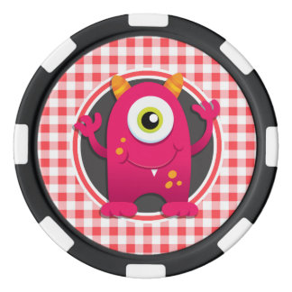 Red Monster on Red and White Gingham Poker Chips