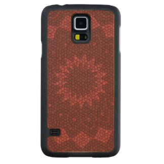 Red mosaic pattern carved maple galaxy s5 case