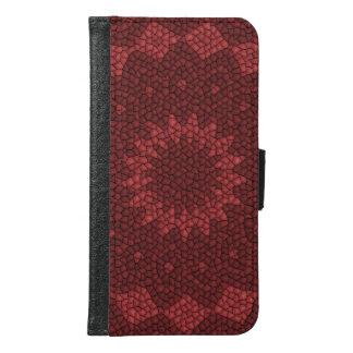 Red mosaic pattern samsung galaxy s6 wallet case