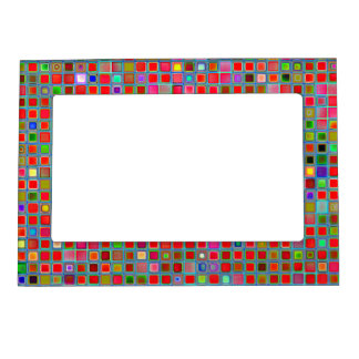Red, Moss Green And Blue 'Clay' Tiles Pattern Magnetic Frames