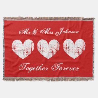 Red mr and mrs throw blanket for newly weds couple