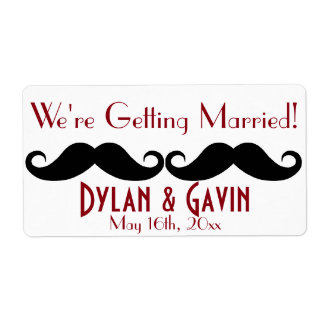 Red Mustache Gay Wedding Shower Water Bottle Shipping Label
