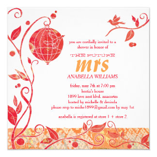 "Red n White Love Birds Bridal Shower Invitations 5.25"" Square Invitation Card"