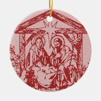 Red Nativity Christmas Ornament