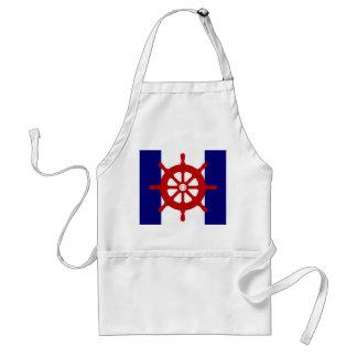 Red Nautical Steering Wheel apron navy  white