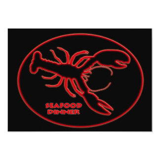 Red Neon  Lobster  Seafood Dinner Sign Card