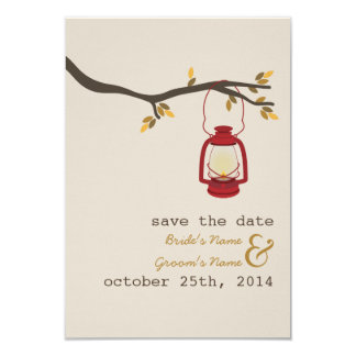 Red Oil Lantern Outdoor Fall Wedding Save The Date Card