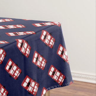 Red on navy blue double decker bus tablecloth