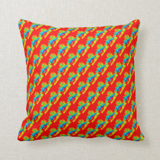 Red Orange Colorful Abstract Patterns Pillows
