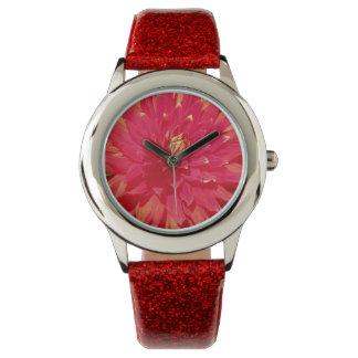 Red Orange Dahlia Flower Wristwatch