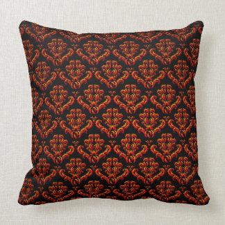 Red Orange Damasks On Black Throw Pillows