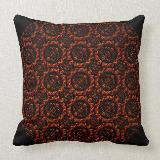 Red Orange Damasks On Black Throw Pillow