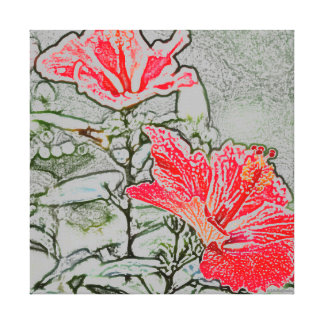 Red-Orange Hibiscus Stretched Canvas Print