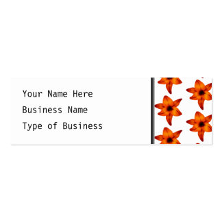 Red - Orange Lily Flowers on White Background. Pack Of Skinny Business Cards