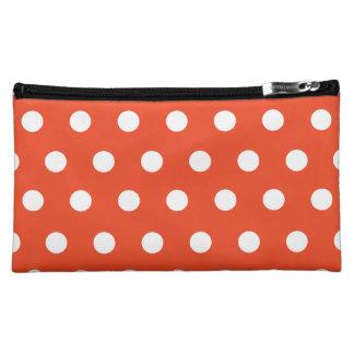 Red Orange Polka Dot Cosmetic Bag