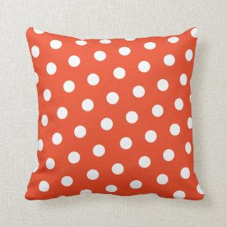 Red Orange Polka Dot Throw Pillows
