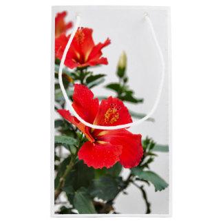 Red-orange tropical hibiscus print gift bag small gift bag