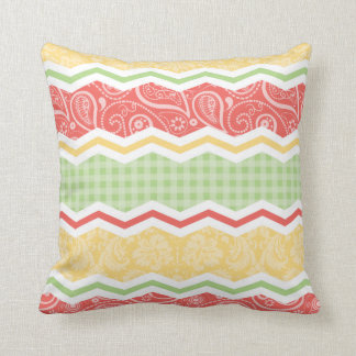 Red-Orange, Yellow, and Green Country Patterns Throw Pillow